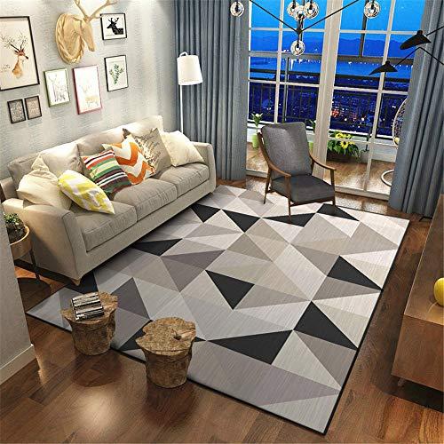 La alfombras Creativo Resistente a Las Manchas Mesa de Centro Alfombra Alfombra de Sala de Estar con patrón de triángulo geométrico Crema Gris Negro Alfombra 200*280cm