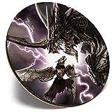 Posavasos redondo único – Fantasy Dragon Wallpaper Gaming Gamer | Posavasos de calidad brillante | Protección de mesa para cualquier tipo de mesa #45000