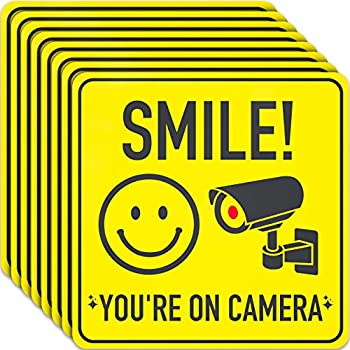Smile You re On Camera Sign Stickers - 7 X 7 Inch - 8 Pack - Polite Video Surveillance Signs to Prevent Trespassing on Private Property - Perfect for House Business Yard or Private Driveway