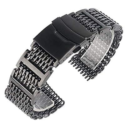 W-L Uhrenarmband 20/22 / 24mm Kühler Outstanding Haifisch Netz Armband schwarz-Armbanduhr-Band-Bügel Massiv Verbindungs-Edelstahl-Ersatz (Band Width : 22mm)