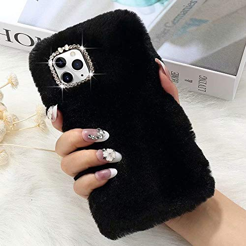 L-FADNUT for iPhone 11 Case Cute Girly Faux Fur Case with Chic Bling Crystal Diamond Bowknot Flexible Silicon Soft Fluffy Furry Shockproof Protective Phone Case for iPhone 11 Black