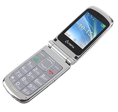 OLYMPIA Modell Style Plus Komfort-Mobiltelefon mit Großtasten und Farb-LC-Display silber