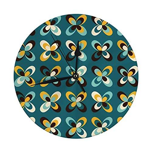 Mesllings Reloj de pared sin tictac, 24,8 cm, geométricas, retro, vintage, marrón, mostaza, amarillo y verde azulado, con diseño floral, redondo Kitch