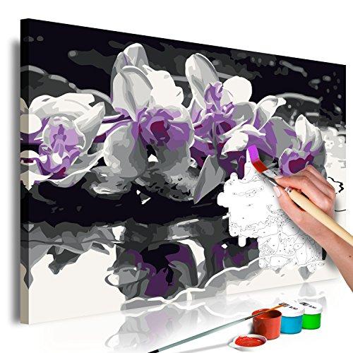 murando - Malen nach Zahlen Blumen Orchidee 60x40 cm Malset mit Holzrahmen auf Leinwand für Erwachsene Kinder Gemälde Handgemalt Kit DIY Geschenk Dekoration n-A-0369-d-a