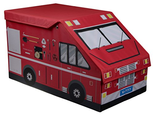 Clever Creations Kids XL Fire Truck Collapsible Toy Storage Organizer Toy Box Folding Storage Ottoman for Kids Bedroom   Perfect Size Toy Chest for Books, Kids Toys, Baby Toys, Baby Clothes