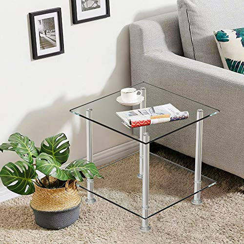 BELIFEGLORY Modern Design End Table, 2 Tier Tempered Glass Coffee Table with Polished Stainless Steel Legs, Small Square Sofa Side Corner Lamp Table for Living Room (Clear)