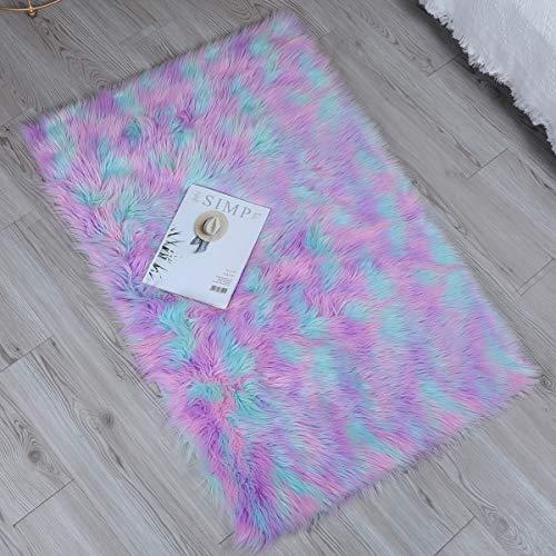 Alfombra de imitación de piel de cordero,artificial Alfombra, excelente piel sintética de calidad alfombra de lana,Adecuado para salón dormitorio baño sofá silla cojín (Verde violeta rosa,50x150cm)