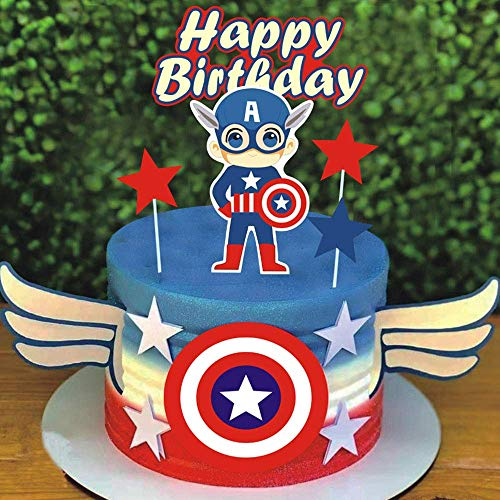 SHAMI Happy birthday cake topper -Cartoon theme Cake Topper for Hero Theme Birthday cartoon Party Decoration Suppliers