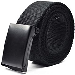 Feesy Black Unisex Canvas Adjustable Military Waist Web Belt / Strap with Slider Buckle with KLOUD City cleaning cloth