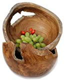 Windalf Rustikale Obstschale Linda Ø 25 cm Natürliche Holzschale Schlüsselschale Schmuckschale Dekoschale Handarbeit aus Wurzelholz