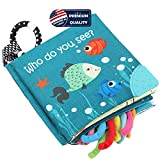 Fish Soft Cloth Book, Shark Tails Soft Activity Crinkle Baby Books Toys for Early Education for Babies,Toddlers,Infants,Kids with Teether Ring,Teething Book Baby Shark,Octopus, Ocean Sea Animal Books