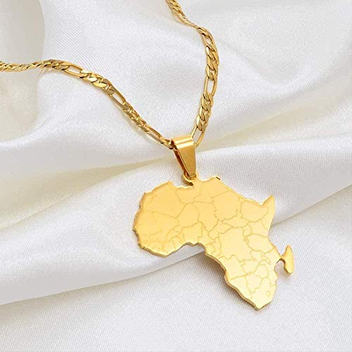 BACKZY MXJP Collar Mapa De África Collares Pendientes Mujeres Hombres Joyería Nacional Africana Mapa del País Africano Bandera Joyería De Color Dorado Collar
