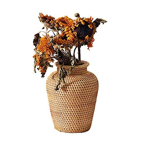 Ulapithi Jarrón de mesa decorativo de jacinto de agua, color natural, decoración del hogar, como regalo