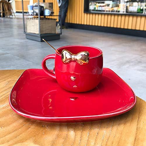 Taza de café de cerámica bow cartoon 250nl rojo