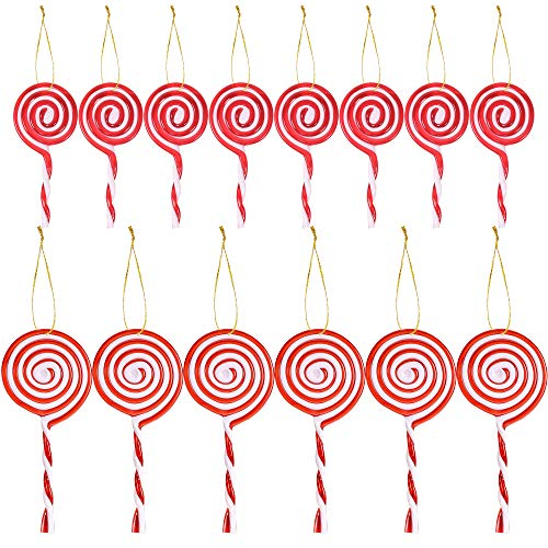 trounistro 14 Pack Christmas Lollipop Ornament Red and White Candy Cane Christmas Tree Ornament, 2 Size