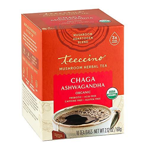 Teeccino Mushroom Adaptogen Tea – Chaga Ashwagandha Butterscotch Cream Herbal Tea with Wild-Harvested Chaga Mushrooms & Ayurvedic Ashwagandha Root for Immune Support, 10 Tea Bags