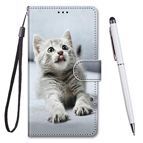 TOUCASA für Honor 9 Hülle, Handyhülle für Honor 9,Premium Brieftasche PU Leder Flip [Kreativ Gemalt] Stoßfeste Case Handytasche Klapphülle für Huawei Honor 9,Zungenkatze
