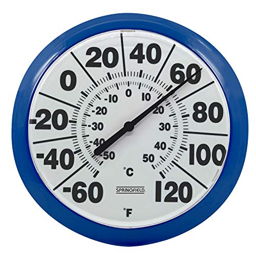 """Springfield 8"""" Indoor/Outdoor Dial Thermometer, Blue -  Lifetime Brands Inc., 5274240"""