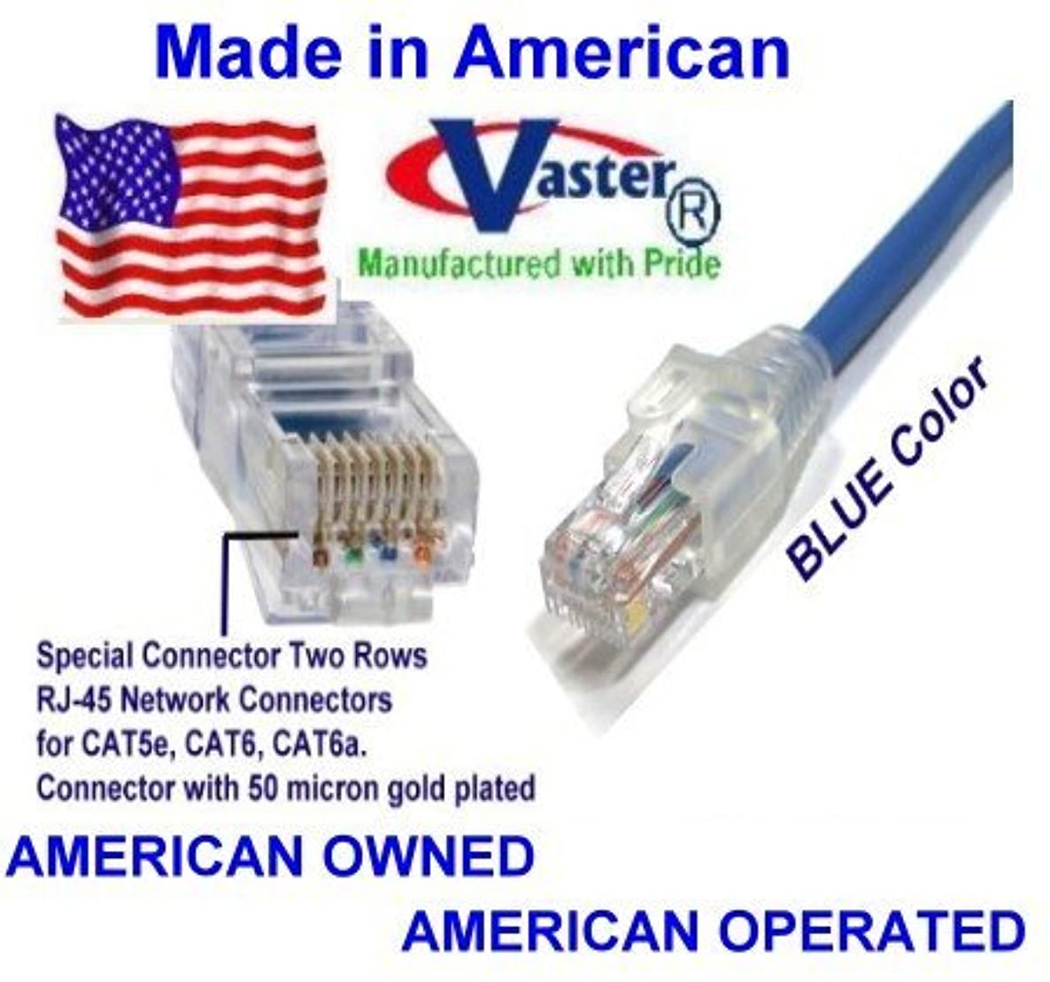 SuperEcable - USA-0670 - 24 Ft UTP Cat5e - Made in USA - BLUE – UL 24Awg Pure Copper – Ethernet Network Patch Cable