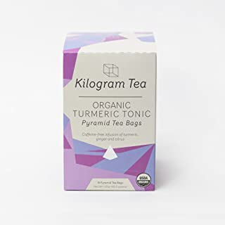 Kilogram Tea - Organic Turmeric Tonic Pyramid Tea Bags - Caffeine Free - Sustainably Produced - 15 count box