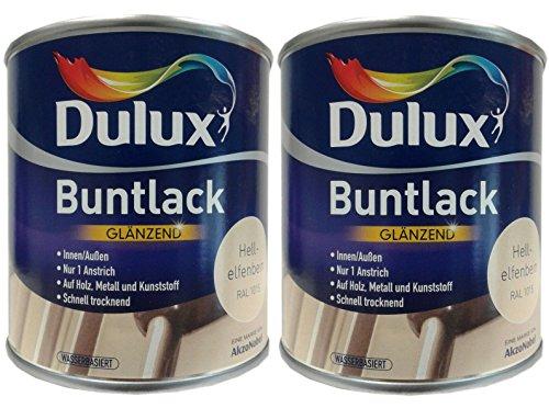 2 x 500 ml Dulux Buntlack Glänzend für innen und außen 1 Liter Farbton Wählbar, Farbe:Hellelfenbein RAL 1015