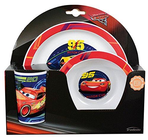 FUN HOUSE 005515 Disney Cars Ensemble Repas Contenant 1 Assiette, 1 Bol et 1 Verre pour Enfant, Polypropylène, Jaune, 26,5 x 8,5 x 24,5 cm