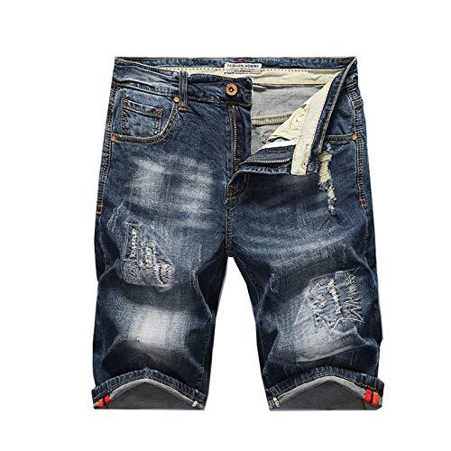 ShFhhwrl Vaqueros de Moda clásica Pantalones Vaqueros para Hombre, Pantalones Cortos Elásticos Rasgados, Ajustados, De Moda, De M