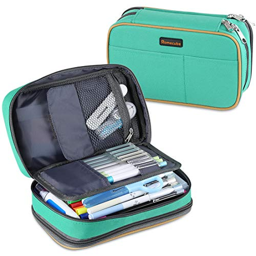 Homecube Pencil Case Big Capacity Storage Pen Bag Makeup Pouch Durable Students Stationery Two Big Pockets with Double Zipper- 8.7x6x3.2'- Green
