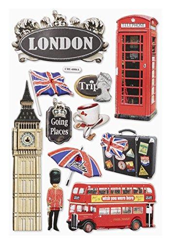 3 D-Sticker England/London Bogen 18,5 x 12,5cm