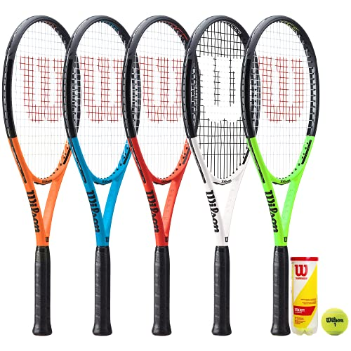 Wilson Burn Tour XP - Raqueta de tenis de grafito y 3 pelotas de tenis Wilson Championship