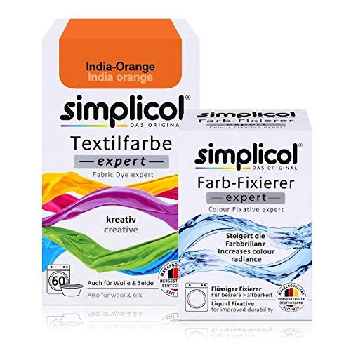 Simplicol Textilfarbe expert + Farbfixierer Kombipack, India-Orange 1702: Farbe für Waschmaschine oder manuelles Färben