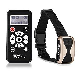 Amzdeal Collier de dressage automatique pour chien avec contrôle à distance de 300 mètres, collier anti aboiement rechargeable avec 4 modes (Bip/choc statique/vibration/automatique)