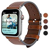 Fullmosa Kompatibel Apple Watch Armbandin 4 Farben, Vintage Leder Band für Apple Watch Serie 5/4 44mm, Apple Watch Nike+ Series 4, iWatch Ersatzband,Dunkelbraun + Silber Schnalle 44mm