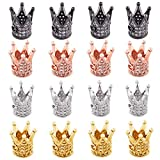 NBEADS 16 Pcs Cubic Zirconia King Crown Beads, 4 Colors 12x10mm Brass Micro Pave Cubic Zirconia King Beads Crown Spacer Beads Bracelet Charm Beads for DIY Jewelry Making