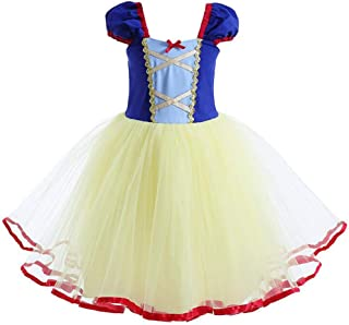 Baby Girl Princess Snow White Costume Bowknot Tutu Dress Up Birthday Party Fancy Cosplay Tulle Dance Gown for Halloween