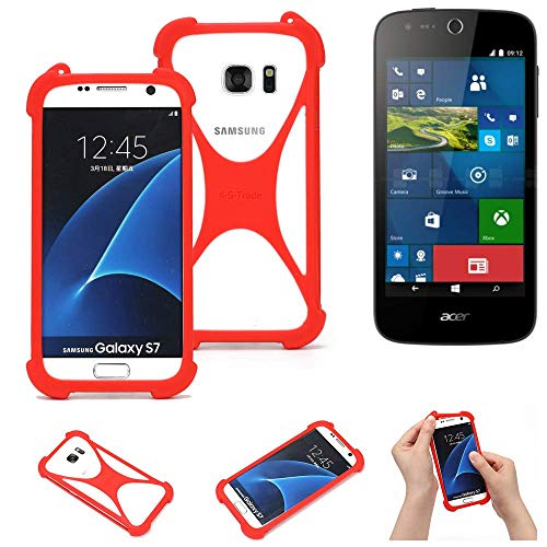 K-S-Trade® Handyhülle Für ACER Liquid M330 Schutzhülle Bumper Silikon Schutz Hülle Cover Case Silikoncase Silikonbumper TPU Softcase Smartphone, Rot (1x)