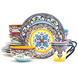 Euro Ceramica Zanzibar Collection Vibrant 16 Piece Oven Safe Stoneware Dinnerware Set, Service For...