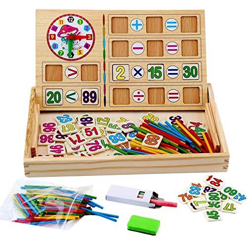 WINGLESCOUT 100 Piezas Puzzles de Madera, Puzzles Juegos Infantiles educativos Rompecabezas Magnéticos de regletas matematicas Madera para 3 4 5 6 Niños (Número y Letra)