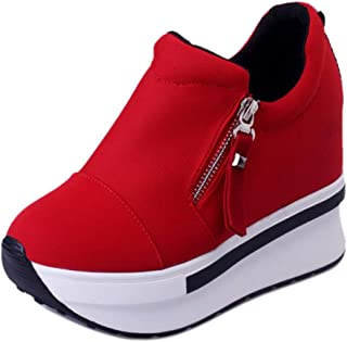 TAOFFEN Women Fashion Flatform Sneaker Zipper High Heel Shoes