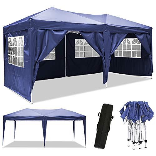 Bunao Pavillon 3mx6m, Wasserdicht Faltbare Pavillon Zelt Faltpavillon Festzelt mit 4 Seitenteilen für Garten/Party/Hochzeit/Picknick/Markt (Navyblau)