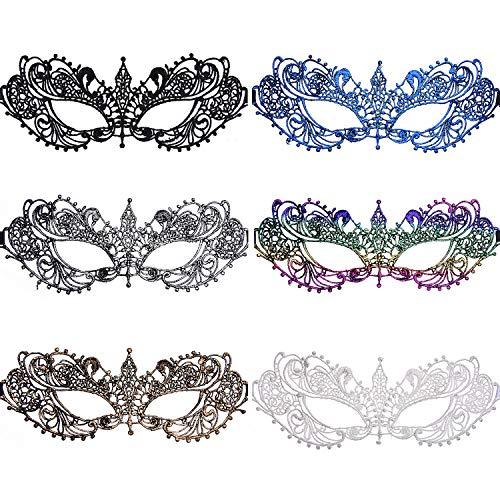 SIQUK 6 Stück Venezianische Maske Spitzenmaske Multicolor Lace Masquerade Masks für Party Abend Ball und Kostüme