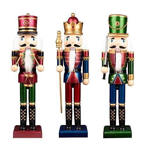 Busy Bee Weihnachten Nussknacker 38cm 3 Stück Holz Nussknacker König und Soldat Figur Display Set für Weihnachtsdekorationen in Legno di