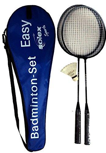 Solex Kit de Badminton Easy pour Deux Joueurs - Raquette de Badminton en Acier trempé de 6,9 mm - Housse de Transport en Nylon - Balle à Ressort en Nylon