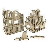 Pwork Wargames Urban Ruins 02 - Escenario de la Ciudad en ruinas para miniaturas en Escala 28mm / 35mm - miniaturas de Mesa wargame 3D escenografía Terreno - MDF 3mm