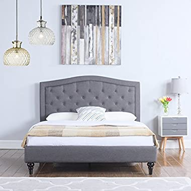 Divano Roma Furniture Classic Dark Grey Box-Tufted Fabric Bed Frame, Queen