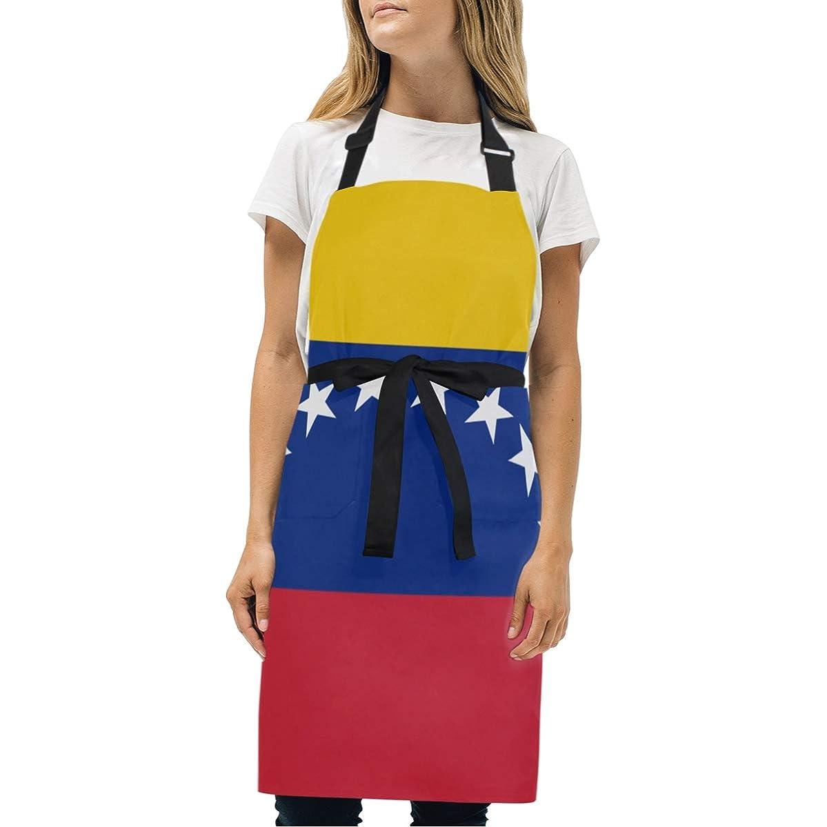 BeliveFinds Flag of Venezuela Proud Adjustable Bib Apron with Pockets Cooking Kitchen Party Aprons