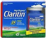 Claritin 24 Hour Allergy Medicine, Non-Drowsy Prescription Strength Allergy Relief, Loratadine Antihistamine Tablets, 45 Count