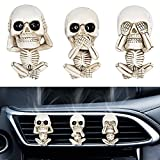 Assletes Car Aromatherapy &Automotive Air Fresheners Evil Skull Trio Statue a Set of 3 with Air Freshener Car Air Outlet Ornament