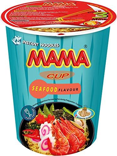 MAMA Instant-Cup-Nudeln Meeresfrüchte – Instantnudelsuppe orientalischer Art – Authentisch thailändisch kochen – Enthält Gabel – 2 x 8 Stück, 70 g