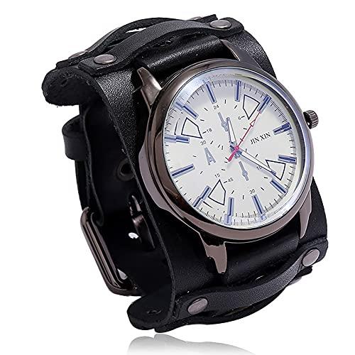 Shmtfa Personalidad Relojes Vintage para Hombre Reloj De Pulsera De Cuarzo AnalóGico No Impermeable Pulsera De Cuero Ancha con Correa Ajustable para Accesorios De MuñEca(Negro)